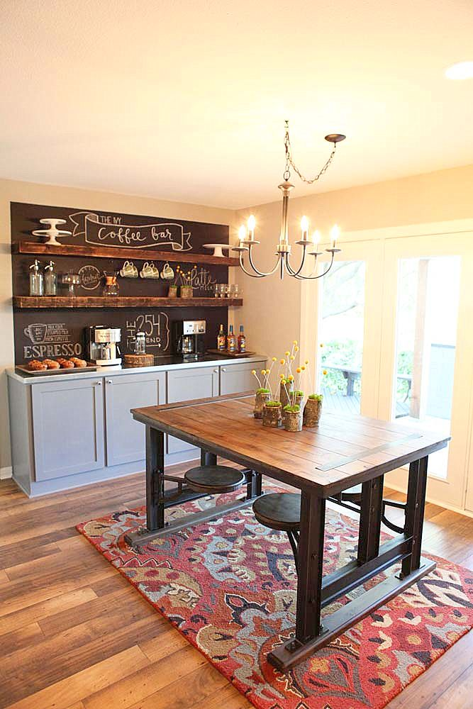 Love the blackboard paint on the wall behind this sideboard! Nice shelving too :)