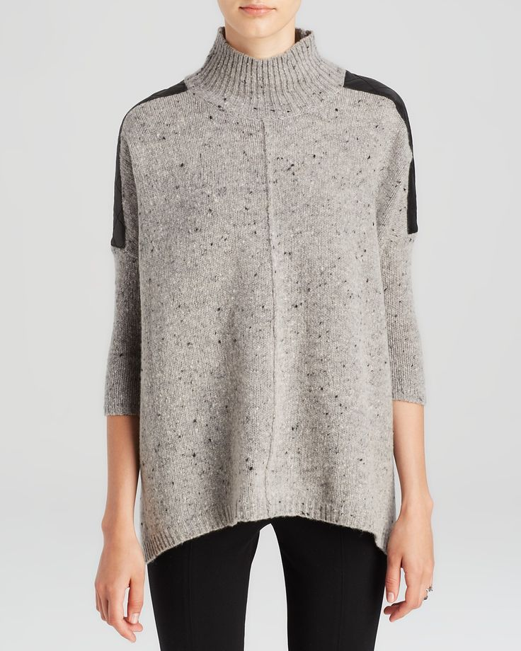 C by Bloomingdale's Leather Shoulder Speckled Sweater | Bloomingdale's  $238