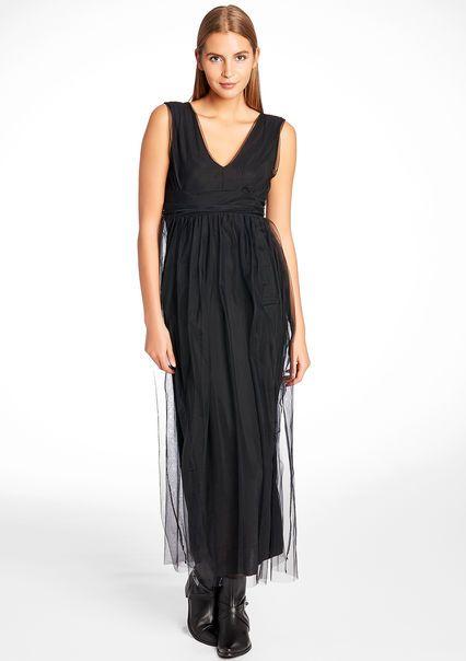 Longue robe tulle unie sans manches,