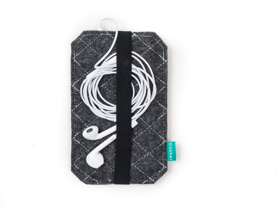 felt iPhone cover iPhone sleeve with elastic band by GopherShop