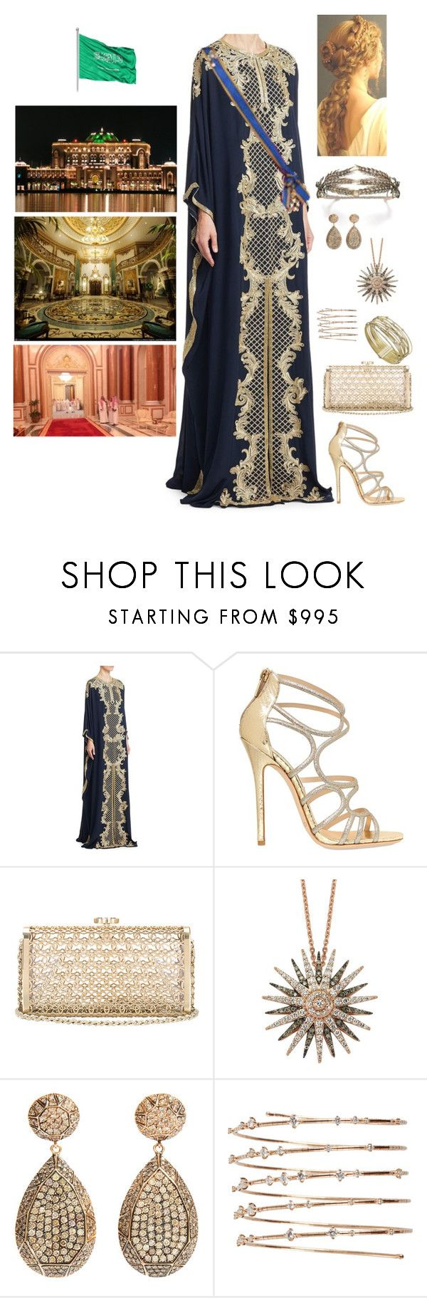 """""""King Nicolas and Queen Rose attend a State banquet in Saudi Arabia"""" by hm-queen-rose ❤ liked on Polyvore featuring Marchesa, Jimmy Choo, Bee Goddess, Ileana Makri, Mattia Cielo and Marco Bicego"""