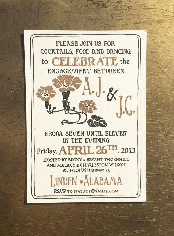 Letterpress Wedding Invitation  Art Deco Floral by SeasidePress