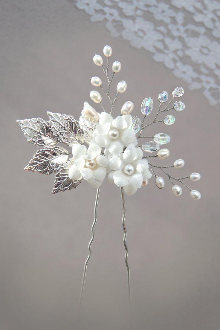 Wedding accessories pearls flowers pearls - Silver Leaf Freshwater Pearl And Rhinestone Bridal Hair Pin White Flower Hair Pin Pearl Hair Pin Gold Leaf Hair Pin Wedding Hair Pin M S