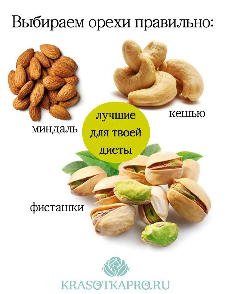 Лучшие для твоего здоровья и фигуры орехи: миндаль, кешью, фисташки. Если ты нацелена сбросить вес, исключи из рациона арахис и пекан. Healthy diet by KrasotkaPro. #КрасоткаПро #Стройная #Фигура #Полезное #Питание