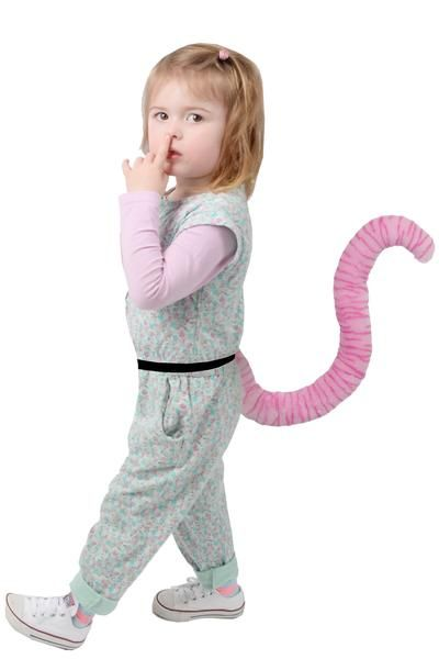 Kids Pink Tiger Tail. Costume tail ideal for kids parties, festival fancy dress, cosplay and day to day mischief.