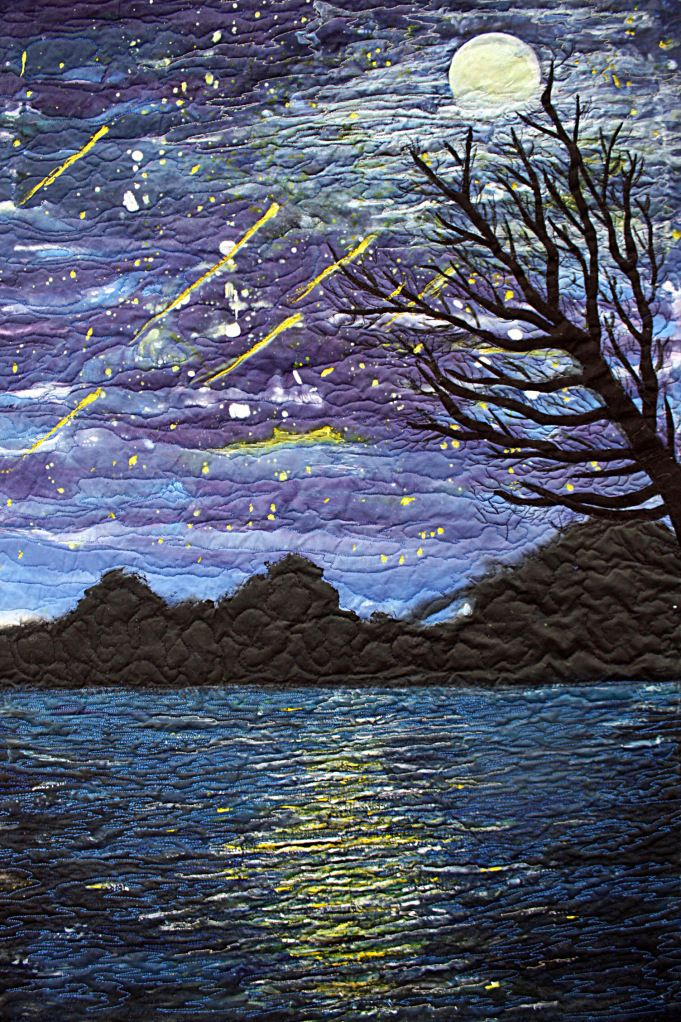 Starry Night Quilt by Barbara Harms, silk, quilted, appliqued, painted.