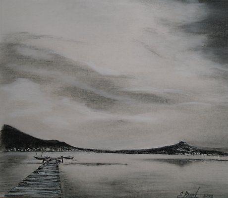 Озеро в горах - Изобразительное искусство - Сангина
