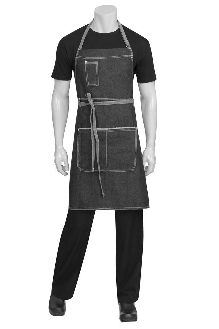 Blue apron australia - Bronx Black Denim Bib Apron Chef Works Australia