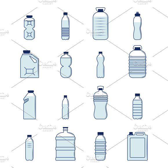 Plastic Bottle Set Vector Illustration 35832907 Jpg 1362 1300 Bottle Drawing Water Bottle Drawing Plastic Bottles