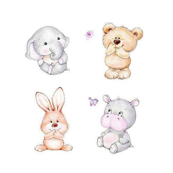 Bär, Elefant, Hase, Hippo Kindergarten Set, Animal Nursery Print, Kinder Kunstdruck, Kinder Wandkunst, junge Baby Zimmer Kunst, Mädchen Kinderzimmer…