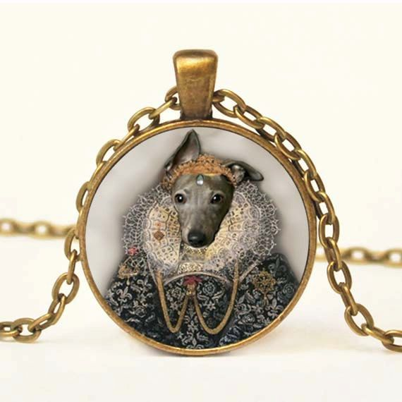 Elizabethan Italian Greyhound Pendant Altered Art by snowdrop88, $14.00
