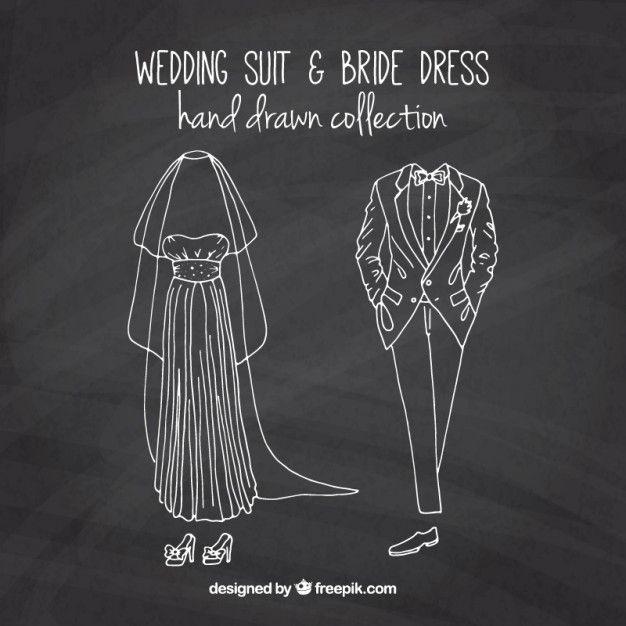 黒板効果でスケッチ花嫁のドレスや結婚式のスーツ 無料ベクター