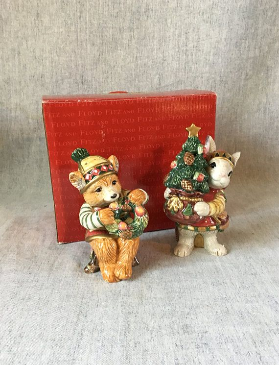 Vintage Fitz and Floyd Christmas Lodge Salt and Pepper Shakers in
