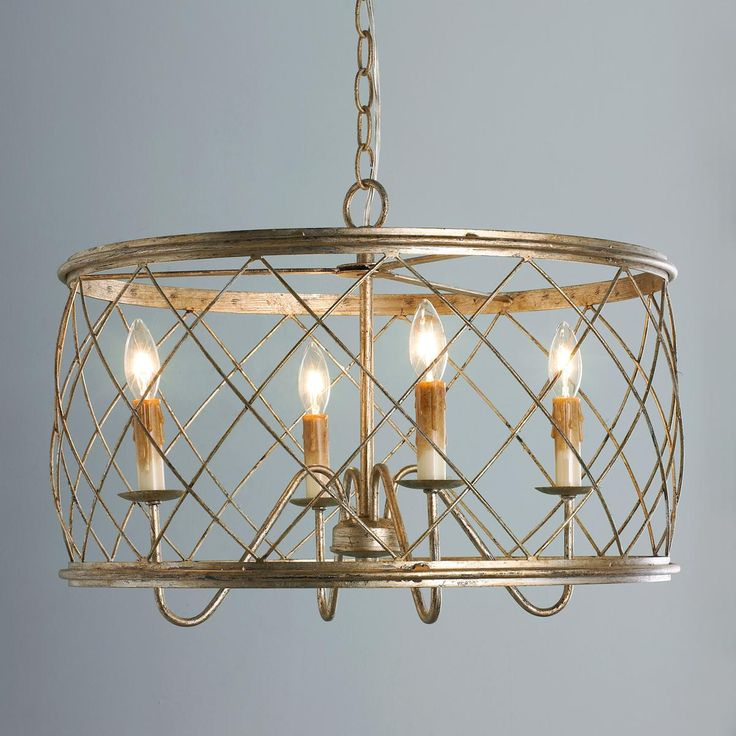 Trellis Cage Ceiling Chandelier Entry?  Love the aged silver