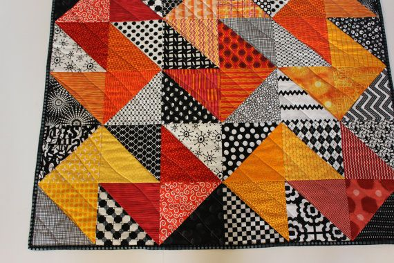 """Modern Baby Quilt """"Declan"""" Contemporary Geometric Pattern in Red, Orange, Gold Fabrics; Baby, Toddler, or Lap Quilt, Play Mat; Wall Hanging"""
