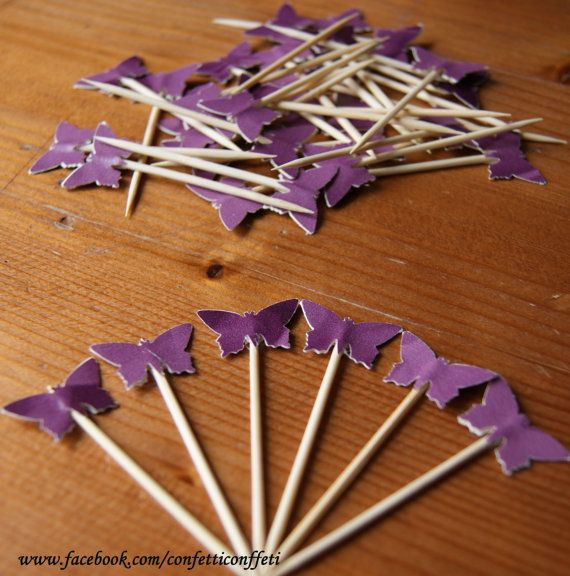 36 x Purple Butterfly Cupcake Toppers Tea by ConfettiConffeti, $7.20