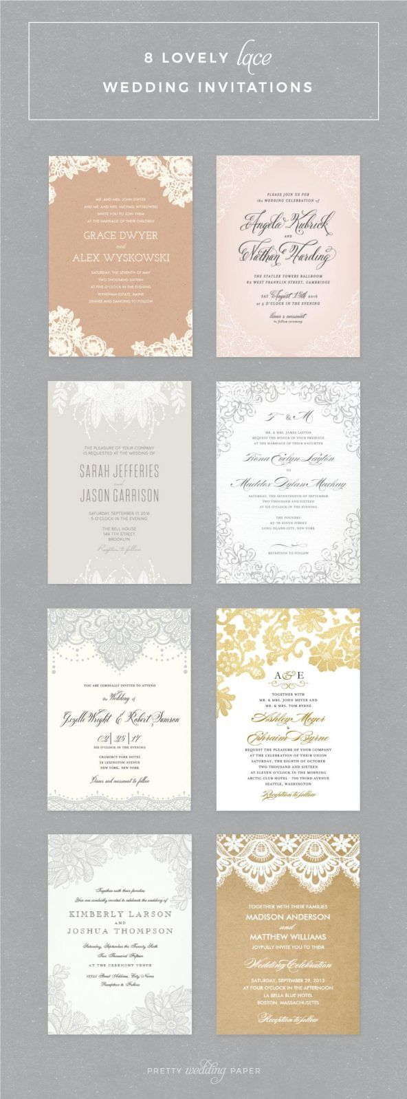 4044 best romantic wedding invitation wording images on pinterest lace wedding invitations 8 lovely invites including vintage lace rustic lace and floral filmwisefo