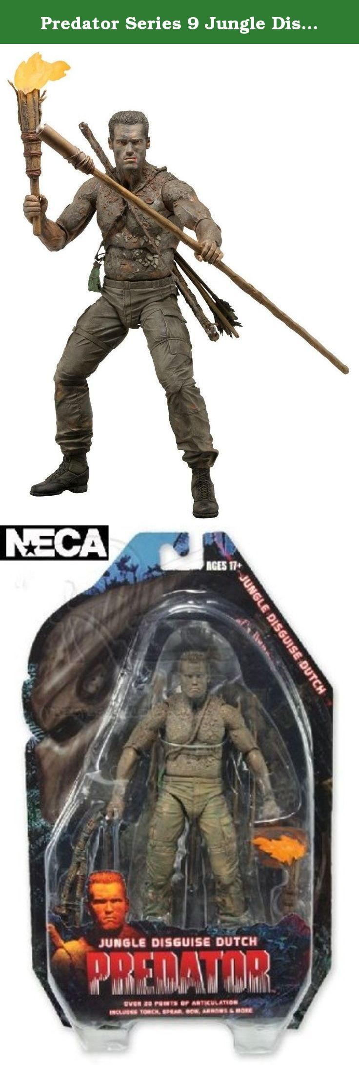 """Predator Series 9 Jungle Disguise Dutch 7"""" Action Figure. The 9th Series in the #1 selling Predator collection celebrates the 25th Anniversary of the original 1987 Predator film with the follow-up assortment featuring Arnold Schwarzengger as Dutch Schaefer! Series 8 was an instant sellout and Series 9 delivers 2 brand new versions of Dutch along with an all new scene specific version of the Jungle Hunter. Jungle Encounter Dutch is faithful to his appearance when he first encounters the..."""