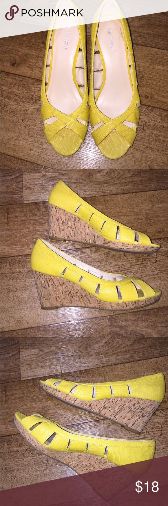 Nine West Yellow Wedges Adorable open-toed yellow wedges. Nine West Shoes Wedges