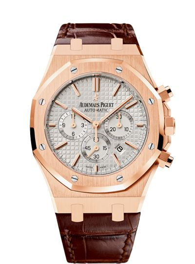 Selfwinding chronograph with date display and small seconds at 6 o'clock. 18-carat pink gold case, silvered dial, brown strap.