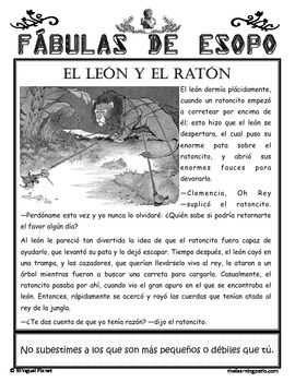Find us in Teachers Pay Teachers Aesop's Fables in Spanish Fábulas de Esopo
