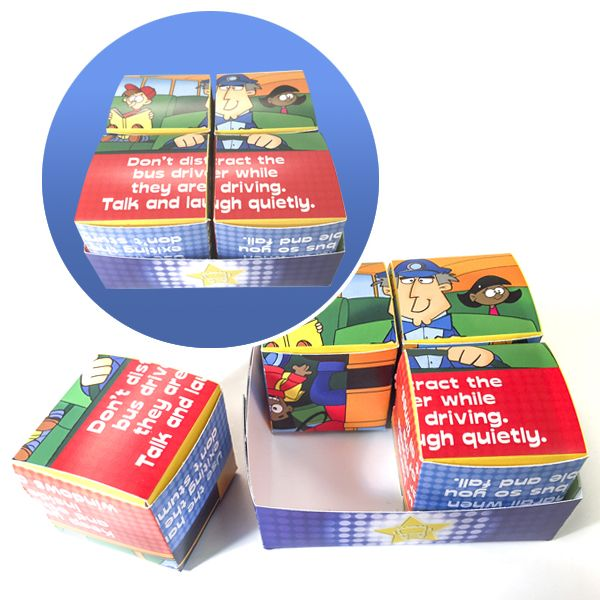 School Bus Safety Super Star Cube Puzzle  Learn about the Rules of the Ride with this 6-sided cube puzzle.