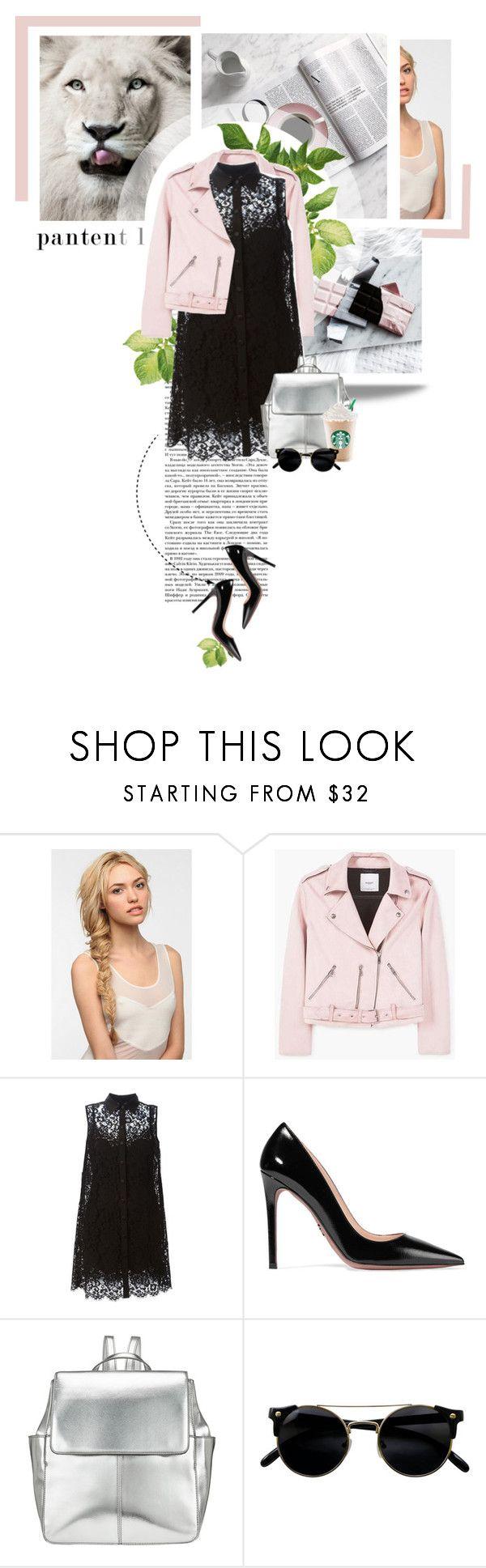 """baby pink  biker jacket"" by szansza ❤ liked on Polyvore featuring Eva NYC, MANGO, Dolce&Gabbana, Prada and Kin by John Lewis"
