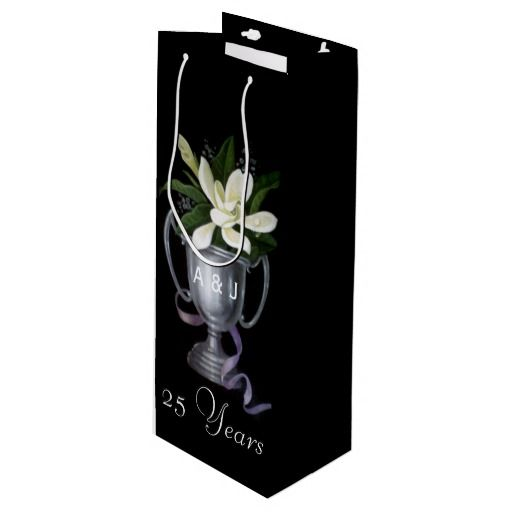 25th Silver Wedding Anniversary Personalized Wine Gift Bag