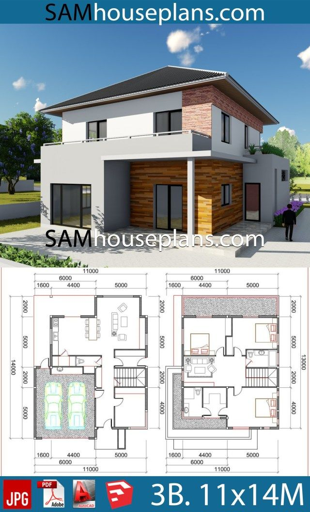 House Plans 11x14 With 3 Bedrooms Sam House Plans House Plans House Floor Plans House