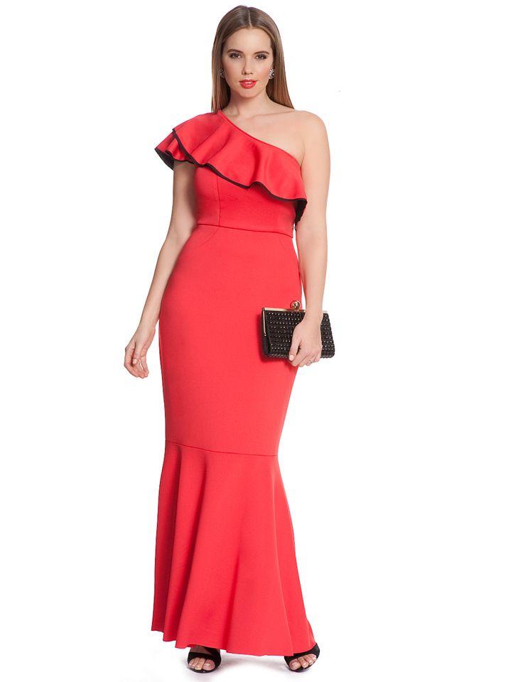Studio One Shoulder Ruffle Maxi | Women's Plus Size Dresses | ELOQUII