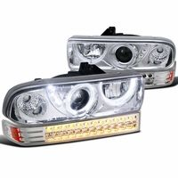 98-04 Chevy S10 Pickup / Blazer Angel Eye Halo LED Projector Headlights + LED Bumper Lights - Chrome