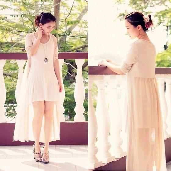 "Beckybwardrobe Casual White Dress, Elysia Dress Maxi Cardigan, Forever 21 Floral Satin Heels //""A Season of Dried Flowers"" by Jasmine L // LOOKBOOK.nu"