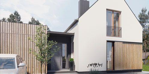 Villa Oslo - dom o prostej, czytelnej bryle, którego funkcje wewnętrzne są odzwierciedleniem zewnętrznej formy.  Projekt  - gotowy dom katalogowy - pracowni WSPÓŁCZESNEdomy.pl
