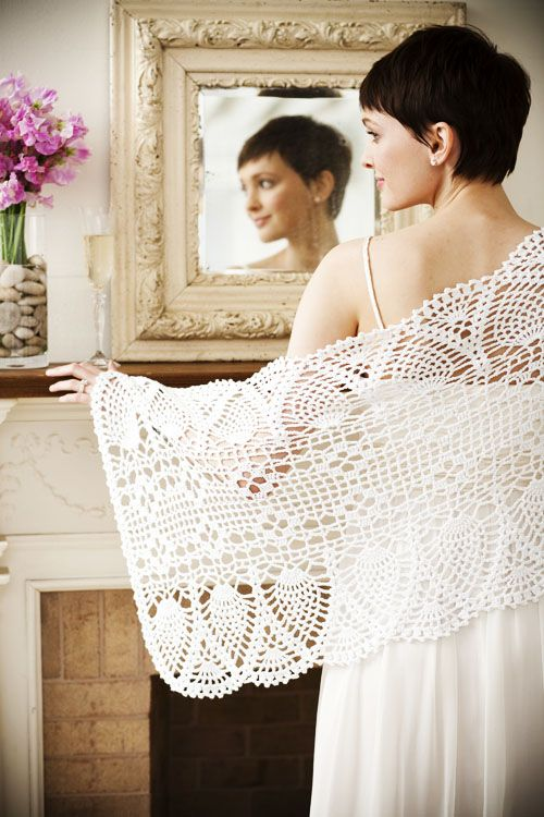 My sister Jessica wants me to crochet her a shawl for her wedding and I really like this one. Hope she likes it, too!!