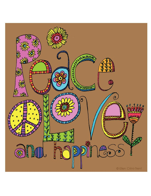 Typography-Peace, Love and Happiness- Art Print. $18.00, via Etsy.