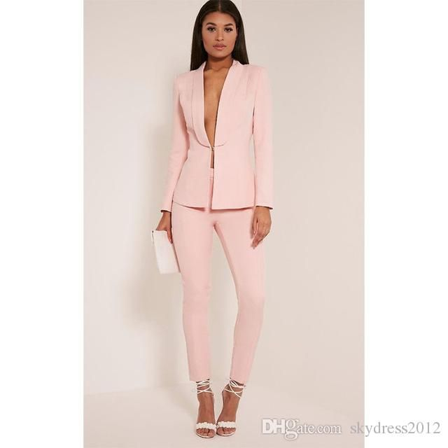 2021 New Light Pink 2017 Fashion Womens Business Suits Ladies Elegant Formal Pant Suits For Weddings Female Trouser Suits Custom From Skydress2012 75 94 Dh Pantsuits For Women Pink Suits Women Suits For Women