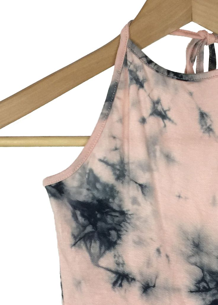 tie dye pattern quartz pink and black color halter neck crop top hand wash 95% rayon and 5% spandex made in USA