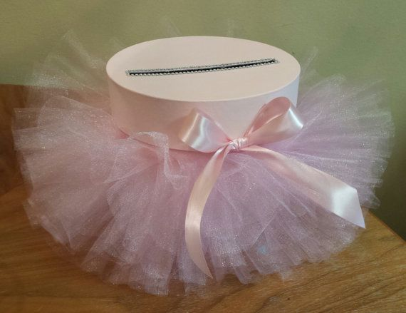 Round card box in light pink with tutu perfect for by JayLeeDesign
