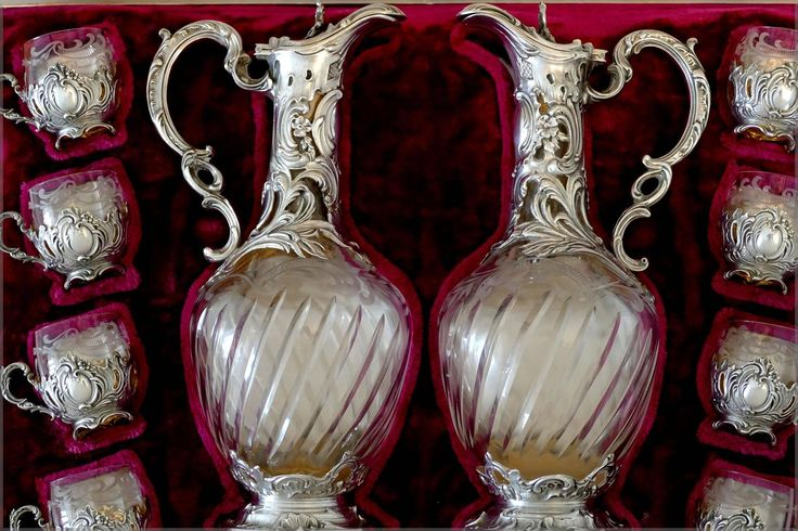 Rare French Sterling Silver 18-carat Gold Liquor Set, Decanter Pair, Glasses | From a unique collection of antique and modern sterling silver at https://www.1stdibs.com/furniture/dining-entertaining/sterling-silver/