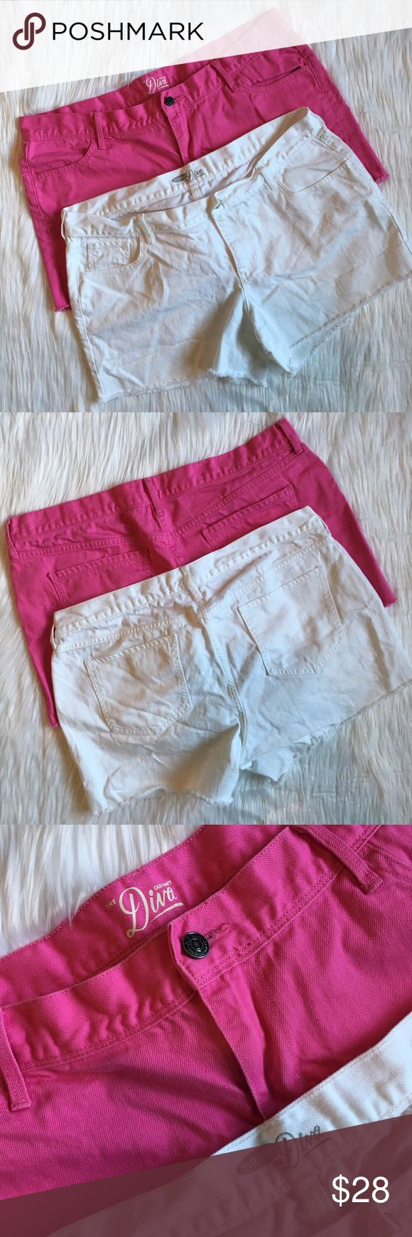 Old Navu 'The Diva' Hot Pink & White Shorts lot of two old navy 'the diva' shorts. one pair in hot pink and one pair in white. mid rise fit with a manufactured raw hem. perfect for summer! both pairs are in new condition. comfortable and easy to move in! marked a size 16, measurements: waist (across)- 18 inches / rise- 10 inches / inseam- 4 inches. 10% off bundles of 2 items and 15% off bundles of 3+ items. inventory box g. Old Navy Shorts Jean Shorts