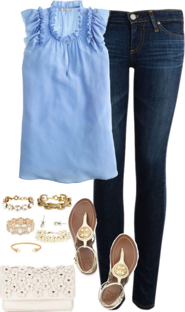 outfit flutter sleeve blue gold blue denim spring outfits spring