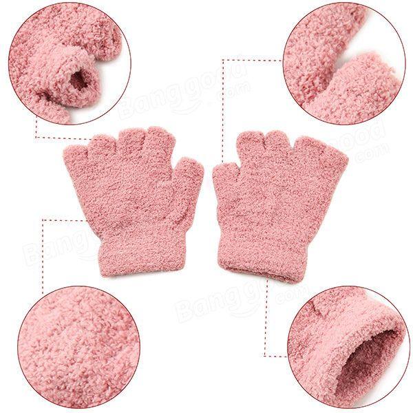 Women Girl Soft Coral Fleece Gloves Fingerless Pure Color Short Mittens at Banggood