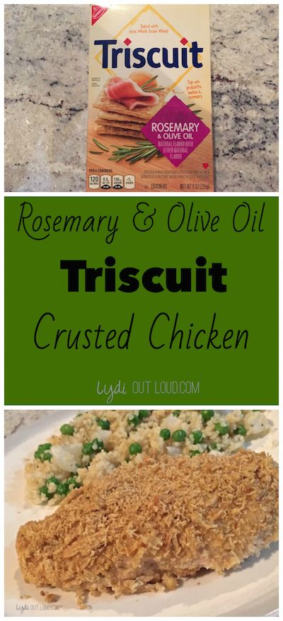 Rosemary & Olive Oil Triscuit Crusted Chicken. Baked chicken, but just as crunchy as fried!