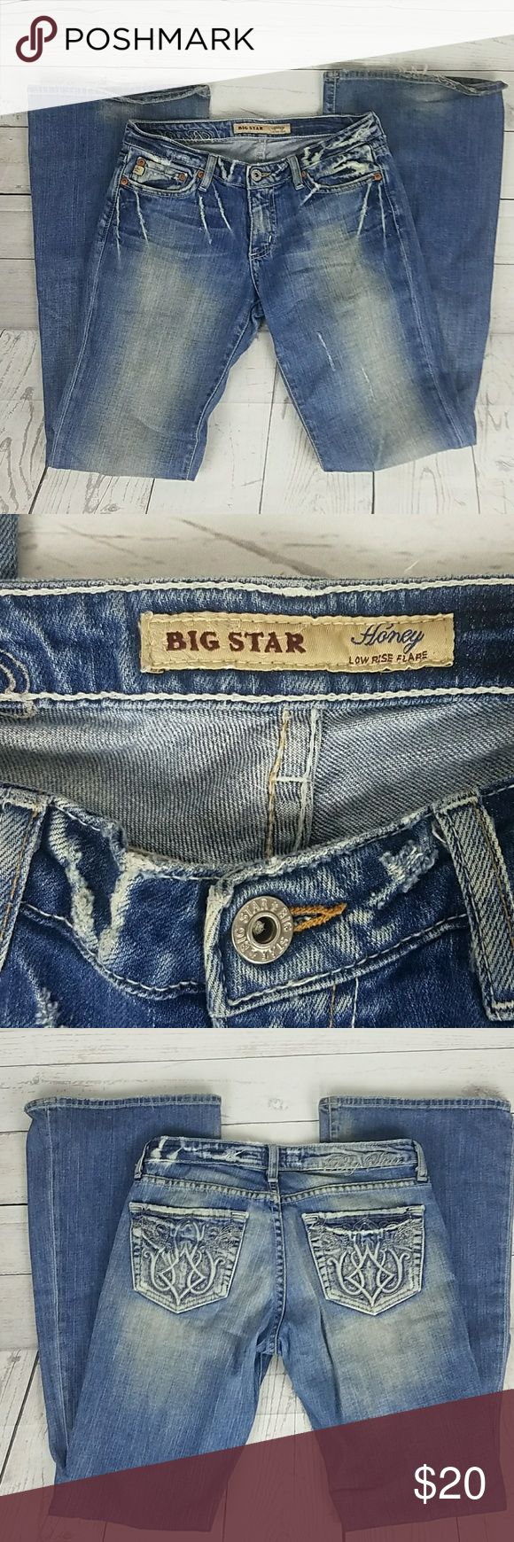 Women's Big Star Jeans Flare Low Rise Size 27R These Women's Big Star Jeans are in good condition. Gently used. These are the Honey model of Big Star. Low Rise Flare. Size 27R Inseam 33 Rise 7 inches Big Star Jeans Flare & Wide Leg