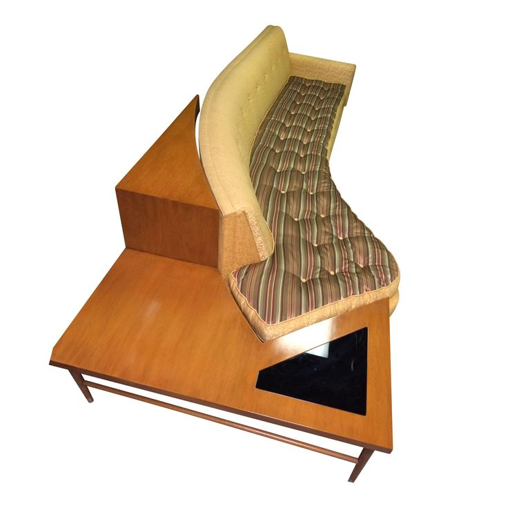 Mid-Century Modern Curved Sofa With End Table
