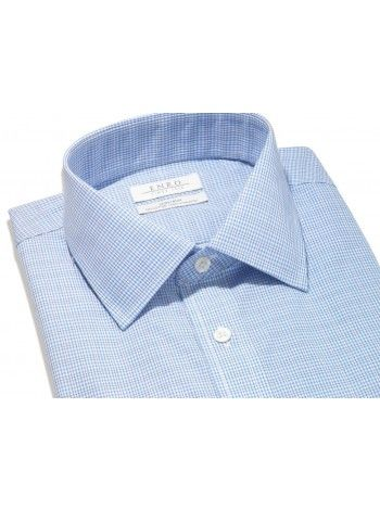 Big&Tall-Blue Check Dress Shirt With ENRO Spread Collar