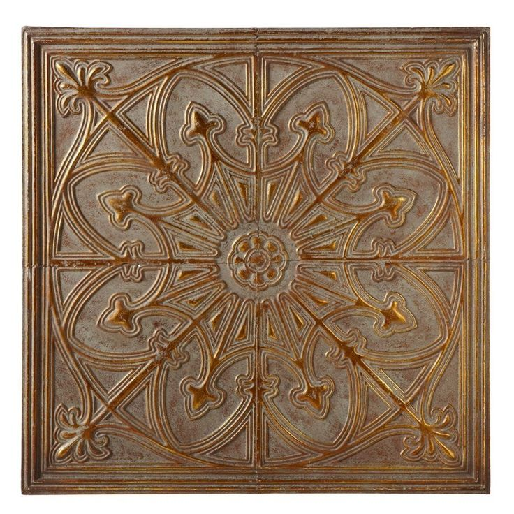 Antique Grey & Gold Medallion Metal Wall Sculpture Square Panel Decor Art 30.5'' | Home & Garden, Home Décor, Wall Sculptures | eBay!