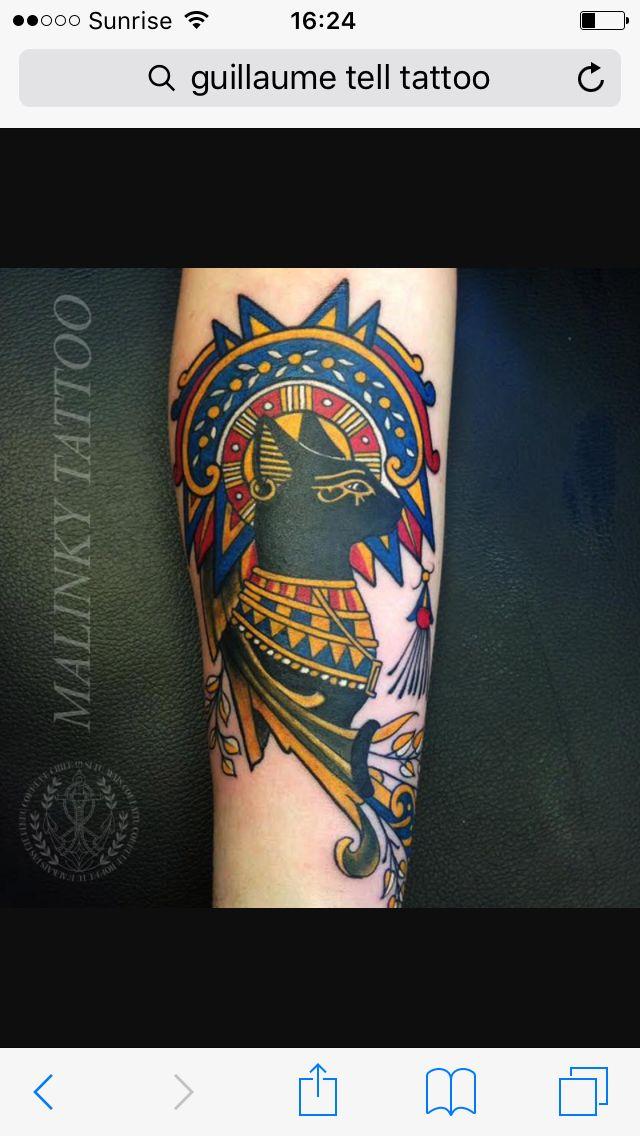 Egyptian cat tattoo from Inked magazine