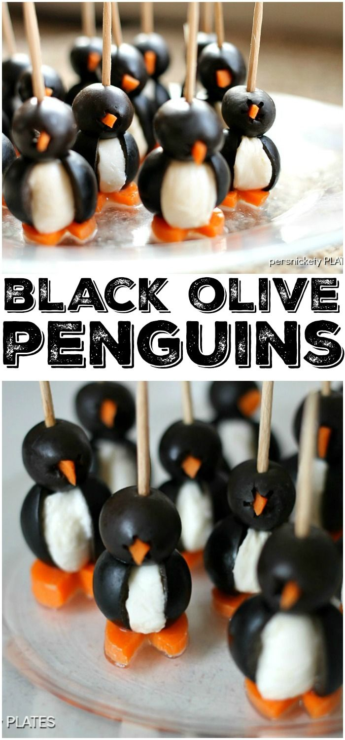 Simple Olive Penguins made with black olives, mozzarella balls, and carrots, are adorable and make a fun appetizer!   Persnickety Plates