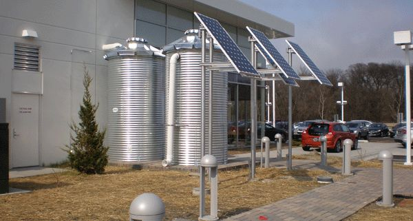 """When Dan Fields contemplated his new Volvo dealership building, he knew that being """"green"""" is important to Volvo customers, so he set off to build what would become the """"World's Greenest Volvo Dealership.""""  Wahaso worked with JDR Engineering to design a single source, multi-use system that would capture rooftop rainwater into two cisterns to provide 100% of the toilet flushing requirements throughout the year and nearly all the requirements for landscape irrigation during summer months."""